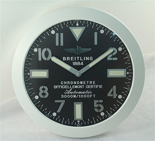 Breitling Luminous Silent Sweep Wall Clock White+Black