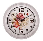SonYo Silent Non-ticking Round Wall Clocks (12 Inches) Decorative Vintage Style Rose Design Clock White