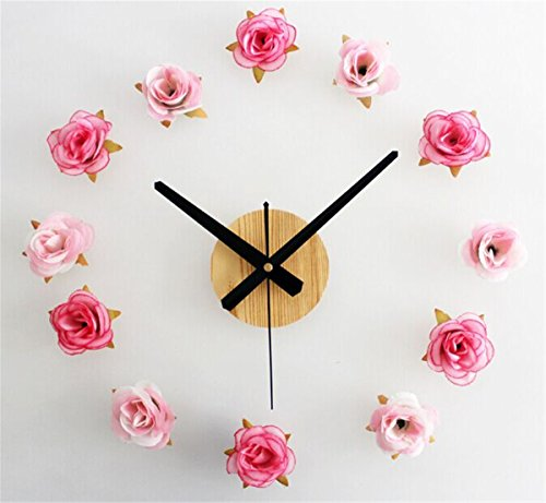 Foxtop Beautiful Flowers Clock / Romantic Roses Clock / DIY Wall Clock / DIY Clocks / Pastoral Simplicity / Fashion Creative / Mute Wall Clock (Pink, Flower)