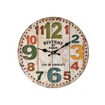 SkyNature Quartz Movement Silent Non-Ticking Wooden Wall Clocks (12inch, 12″ color number)