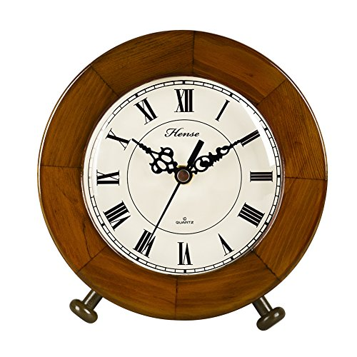 HENSE Round Antique Roman Numerals Analog Clock Soild Wood Concise Non Ticking Mute Quartz Desk Clock HD12 (Brown #A)