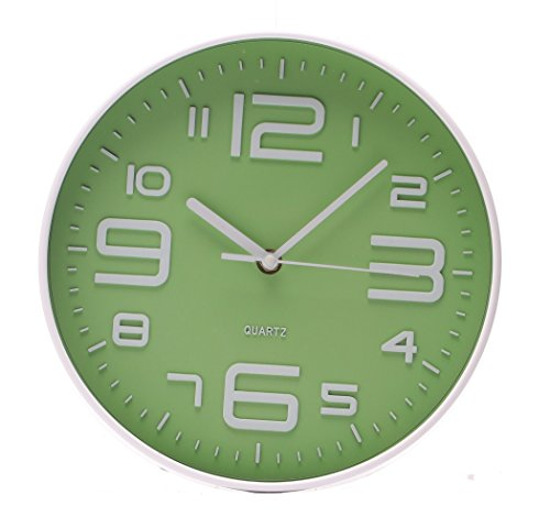 SonYo Indoor/Outdoor Simple Modern Big 3D Arabic Numerals Silent Quartz Non-ticking Wall Clock 10 Inch Green