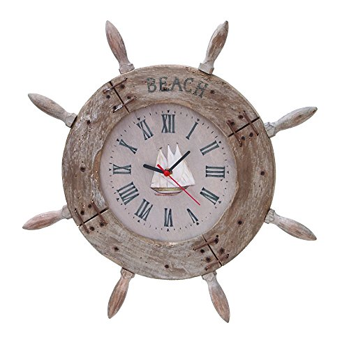 Wood Ship wheel Clock 20D Nautical Maritime Decor