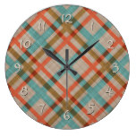 Coral Red Turquoise Diamond Argyle Plaid Pattern Large Clock