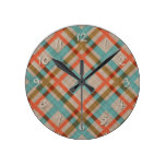 Coral Red Turquoise Diamond Argyle Plaid Pattern Round Clock