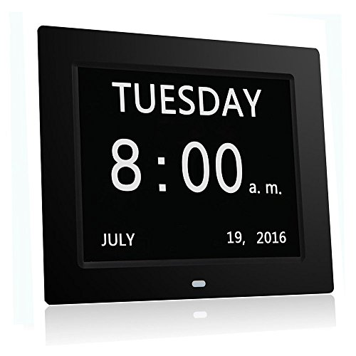 HeQiao Large LED Digital Calendar Day Clock Silent Wall Clocks Desk Shelf Clocks for Home Office or Seniors Memory Loss Dementia Alzheimer's (8 Inch, 8-Language, Large Display)-Black