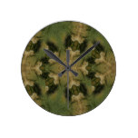 Kaleidoscope Design Star from Pampas Grass Green Round Clock