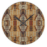 Khaki Beige Taupe Brown Eclectic Ethnic Look Large Clock