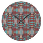 Turquoise Teal Red Brown Eclectic Ethnic Look Large Clock