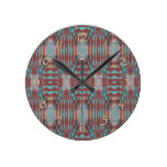 Turquoise Teal Red Brown Eclectic Ethnic Look Round Clock
