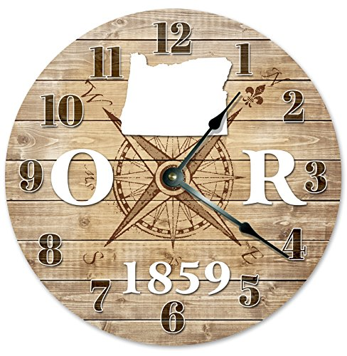 OREGON CLOCK Established in 1859 Decorative Round Wall Clock Home Decor Large 10.5″ COMPASS MAP RUSTIC STATE CLOCK Printed Wood Image