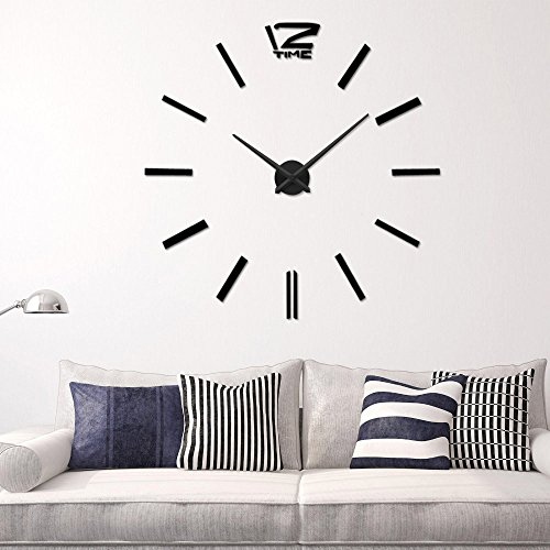 Recommend Quartz Diy 3D Wall Clock 20 Inch Large Clock Watch Best Acrylic Mirror Metal Wall Stickers Clocks Home Decoration^.Silver