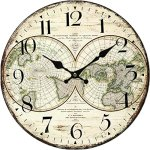 Yung Jo 12″ Vintage Rustic Country Tuscan Style World Map Pattern Arabic Numerals Design Wooden Round Decorative Wall Clock (World)