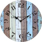Yung Jo 12″ Vintage Rustic Shabby Chic Style,Blue and Brown Bars ,Arabic Numerals Design Wooden Round Home Decoration Wall Clock(Blue Bars)