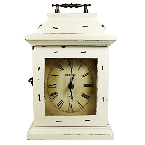 Vintage Wood Desk Clock Mantel Clock Retro Antique Clock Non Ticking Clock Decorative Clock w a Hidden Key Holder,Cream White