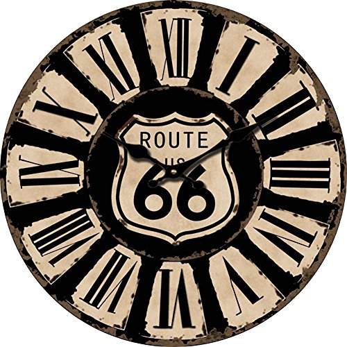 Yung Jo 12″ Vintage Rustic Country Tuscan Style,Route 66 Road Sign, Roman Numerals Design Wooden Round Decorative Wall Clock (66 Road)