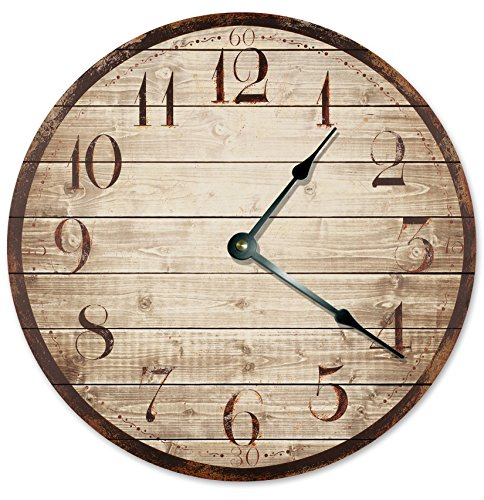 RUSTIC WOOD WEATHERED CLOCK Large 10.5″ Wall Clock Decorative Round Novelty Clock PRINTED WOOD IMAGE Beach Wood Clock