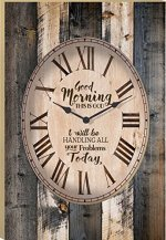 Good Morning This is God Vintage Wood Look Wall Clock