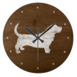 Basset Hound Silhouette Large Clock