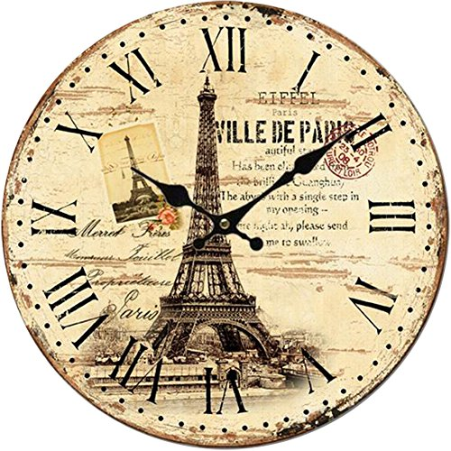 Yung Jo 12″ Vintage Rustic French Country Style Eiffel Tower Stamp Pattern,Roman Numerals Design Wooden Round Decorative Wall Clock (Eiffel Stamp)