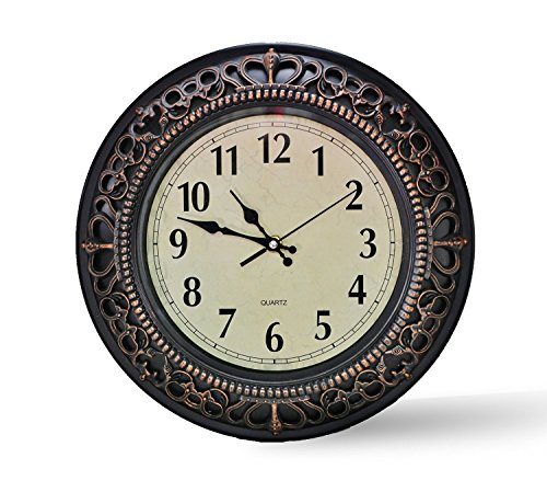 Foxtop 12 Inch Palace Simulated Metal Design Plastic Wall Clock. ABS Glass Cover, Quartz, Antiquity European Style, Bronze Color Finish