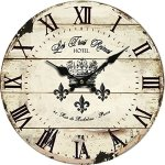 Yung Jo 10″ Vintage Rustic Shabby Chic Style Roman Numeral Design Wooden Round Decorative Wall Clock (Crown)