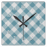 Light Teal Blue Country Cottage Gingham Stripes Square Wall Clock