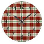 Rustic Country Christmas Holiday Tartan Plaid Large Clock
