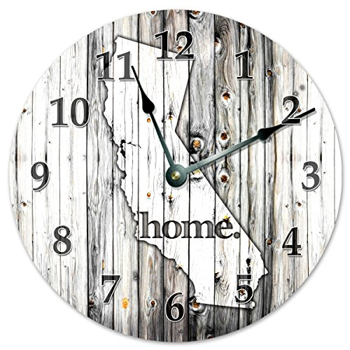 CALIFORNIA STATE HOME CLOCK Black and White Rustic Clock – Large 10.5″ Wall Clock