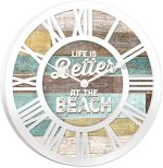 Life is Better at the Beach Vintage Wood Look Wall Clock
