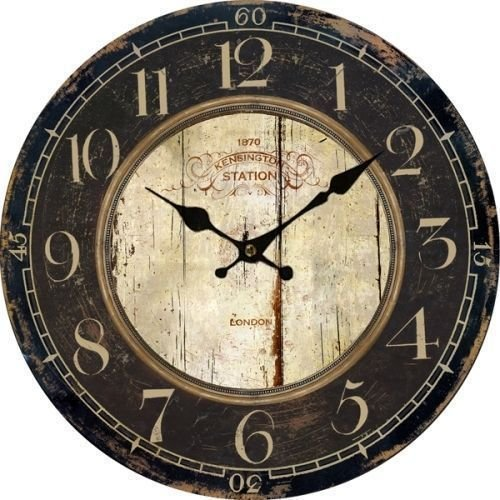 Muktat_ Antique Clock Wall Rustic Vintage Style Wooden Round Clocks Large Art Home Decor