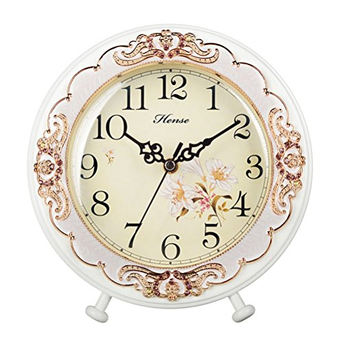 HENSE Round European Garden Living Room Decorative Desk Clocks Silent Non tick Sweep Second Wooden Table Clock HD10 (White)