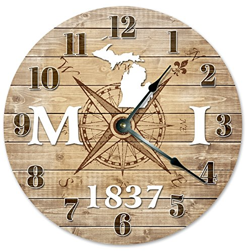 MICHIGAN CLOCK Established in 1837 Decorative Round Wall Clock Home Decor Large 10.5″ COMPASS MAP RUSTIC STATE CLOCK Printed Wood Image