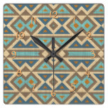 Brown Orange Teal Turquoise Eclectic Ethnic Look Square Wall Clock