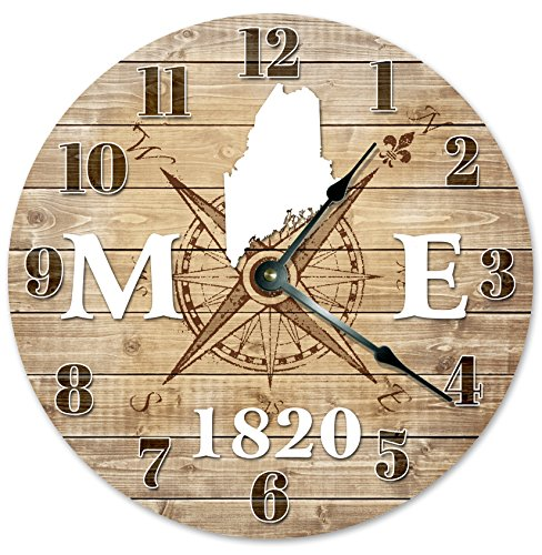 MAINE CLOCK Established in 1820 Decorative Round Wall Clock Home Decor Large 10.5″ COMPASS MAP RUSTIC STATE CLOCK Printed Wood Image