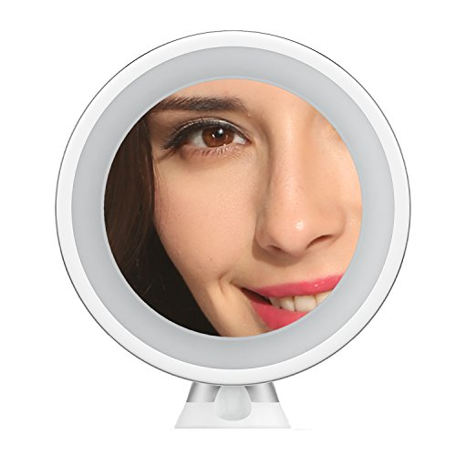 ACEVIVI 7x Magnifying Lighted Makeup Mirror, Fogless Bathroom Vanity Mirror with 360° Swivel, Natural LED Lights, Cordless and Compact 6 Inch