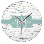 Peach & Mint Branches Cottage Chic Monogram Large Clock
