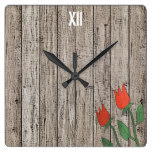 Rusted Wood Fence Red Tulips Wall Clock