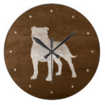 Staffordshire Bull Terrier Silhouette Large Clock