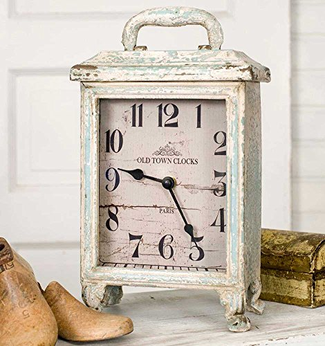 Rustic Carriage Clock in Distressed Tin, Stands 11 Inches Tall, Battery