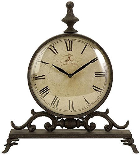 Churchill Iron Table Clock, 14″Hx12.5″Wx4″D, BLACK