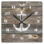 Authentic looking Wood Rustic Nautical Anchor Square Wall Clock