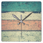 Distressed Wood Look Clock | Teal, Mint and Coral