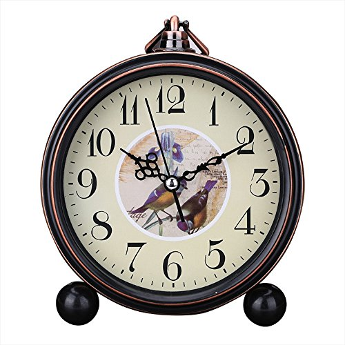 Kaimao Vintage Style Alarm Clock 5″ (13cm) Silent Antique Retro Table Clock with Hanging Loop (Birds)