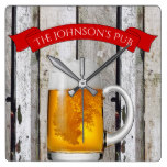 """Personalized Beer Stein & """"(Your Name) Pub"""" Square Wall Clock"""