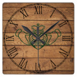 Rustic Celtic Claddagh Square Wall Clock