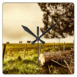 Rustic rural countryside landscape square wall clock