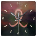 Supportive Rustic Breast Cancer Ribbon Square Wall Clock