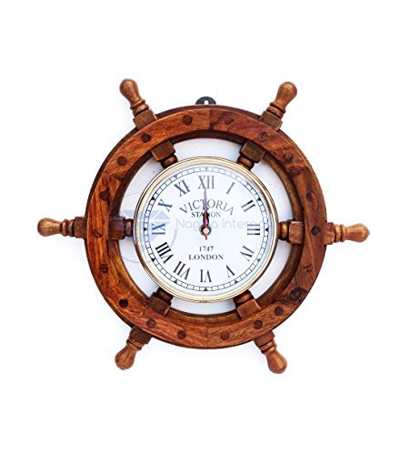 Nautical Handcrafted Wooden Premium Wall Decor Wooden Clock Ship Wheels | Pirate's Accent | Maritime Decorative Time's Clock | Nagina International (12 Inches, Clock Size – 5 Inches)