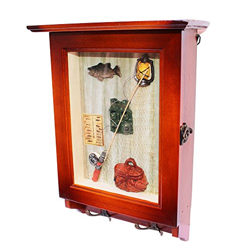 Heartful Home Key Wall Holder Cabinet – Save Time & Hassle – Top Quality Decorative Wood Keychain Storage Rack w/ Hooks – Great Housewarming, Wedding, Anniversary Gifts (Fishing)